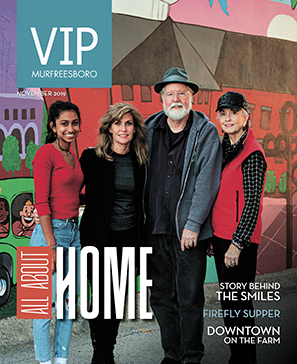 covering community creatives - Mira Patel, Ginny Togrye, Norris Hall and Andrea Loughry are pictured on the cover of the November 2019 issue of VIP Magazine.