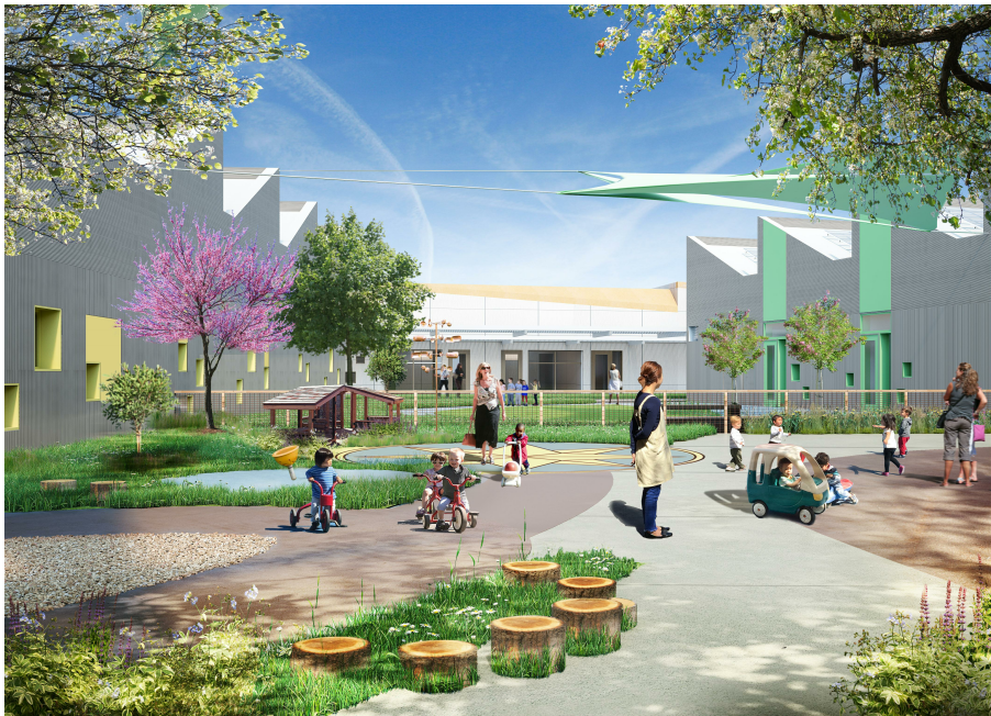 Genentech Childcare Center - The new 57,140 sq ft child care center uses wood construction, achieved LEED Platinum rating, and operates as a Net-Zero energy and carbon complex.Owner: GenentechArchitect: Perkins + WillGC: Rudolph & SlettenOur Scope: 3D wood framing model