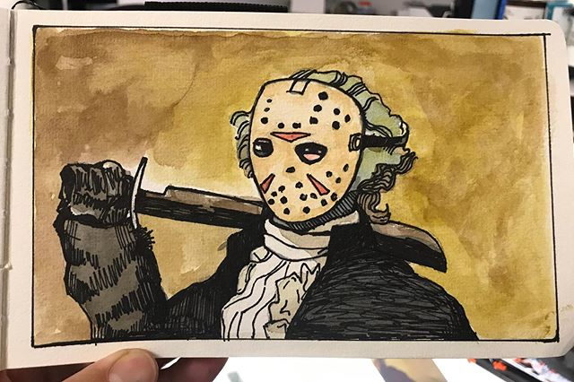 The August superhero/super villain challenge was so much fun I decided to do it again. This month I will create a painting each day to celebrate the oddly creepy, fantastically spooky, ghastly month of October. #halloween #fridaythe13th #georgewashington #jasonvoorhees #horrorfilm #31daypaintingchallenge #christopherolsonart #watercolor #ink