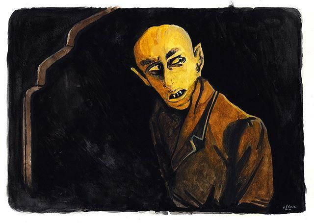 Nosferatu #31daysofhalloween #vampire #nosferatu #horrorfilm #artwork #watercolor #christopherolsonartdotcom