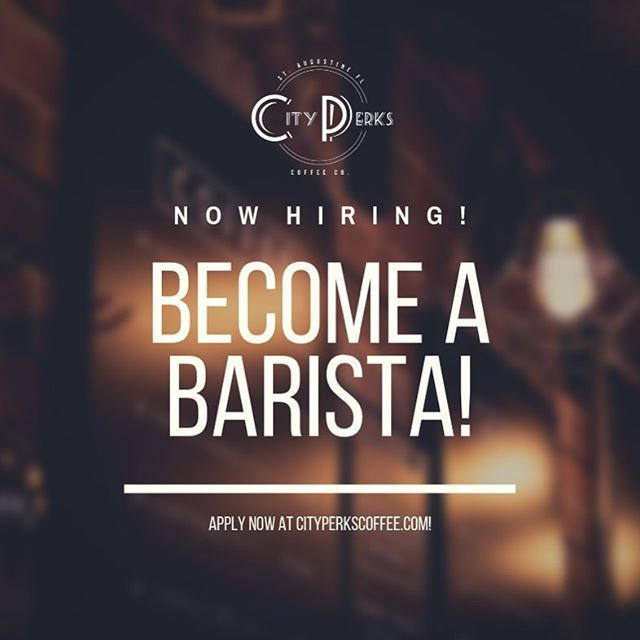Looking for a cooler job? Want to learn more about coffee? Send us an application at https://www.cityperkscoffee.com/staugustinecoffeecareer, or DM us for more info!
