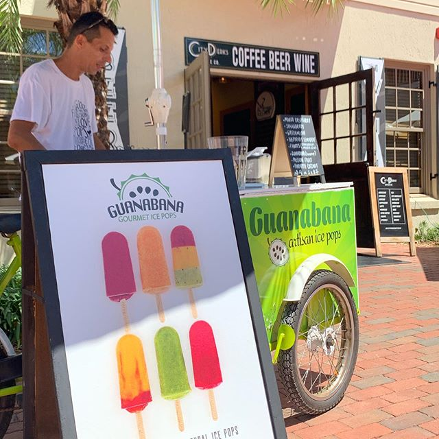 We have a visitor in the courtyard! Come get a guanabana pop - a local, all natural ice pop! Come and join us all day!