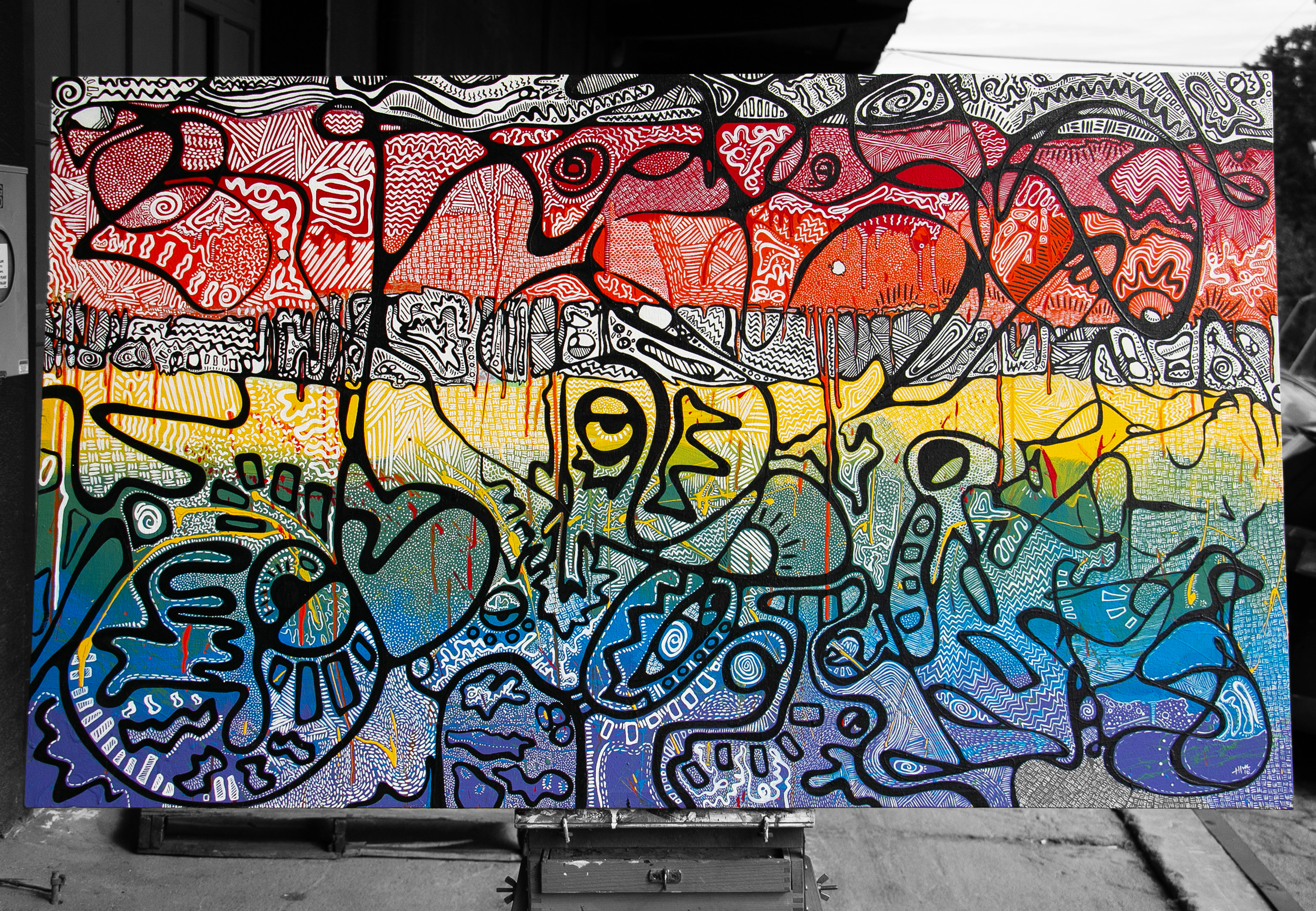 Fruity Drip - 4' x 5' - Acrylic on Canvas Color Me Tone - 2018
