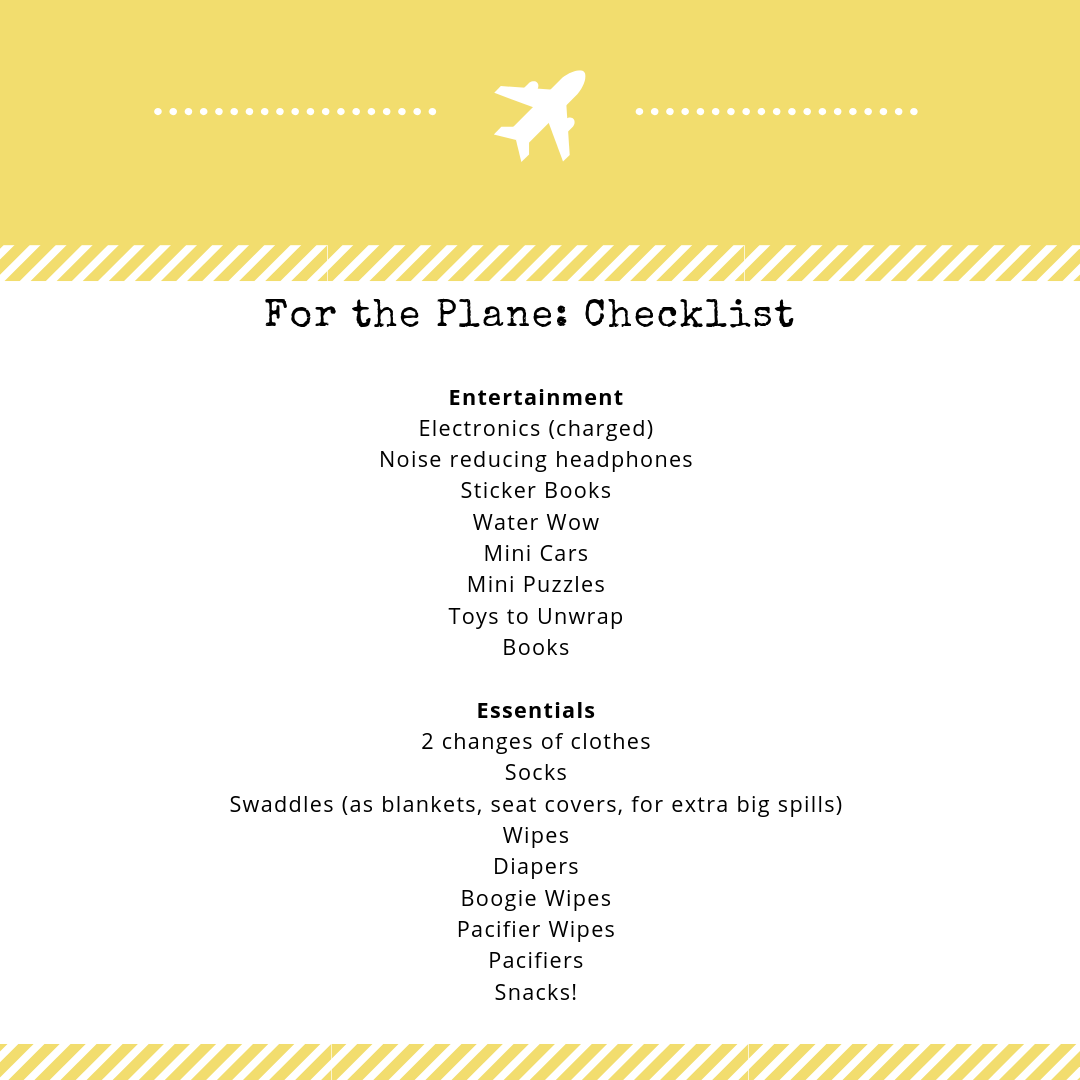 Save this checklist for packing for the plane ride with your toddler