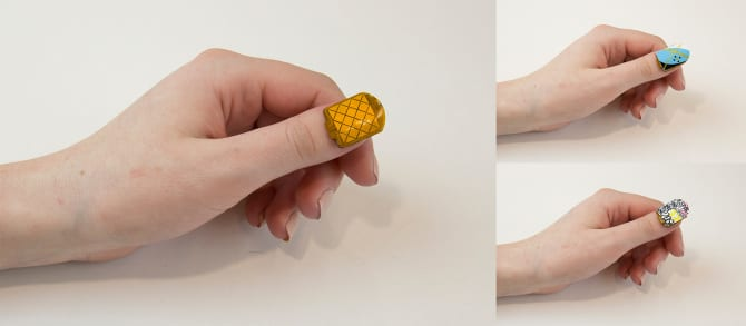NailO flexible PCB prototype, form factor is miniaturized close to that of a nail art sticker. (Image courtesy of MIT Media Lab)