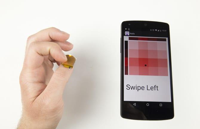 NailO affords swipe gestures. (Image courtesy of MIT Media Lab)