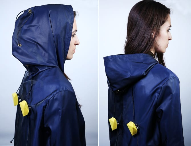 Climate Reactive Clothing: The robots can trigger clothing to actively adapt based on the climate or comfort needs of the wearer. We created a coat and connected each drawstring of the hood to a device. Upon detecting an increase in temperature, the devices move downwards to unfold the hood.