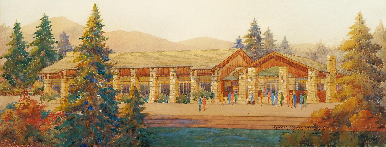 Original watercolor by architect Gilbert Stanley Underwood.