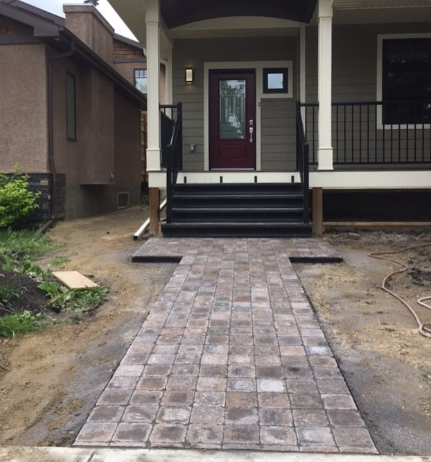 Cobblestone finished! . . . . . . #pavingstones #walkway #yegrealestate #yegconstruction #yegbuilder #hardscaping #oldstrathcona #urbanliving #yeginfill #welcomehome #edmonton
