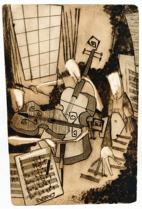 Canvas.  Original etching print by Arjen Dijksma.
