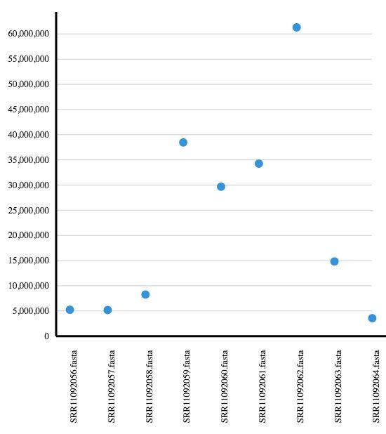 Figure 3  Number of reads per sample from BAL metagenomic samples (analysis on app.cosmosid.com)