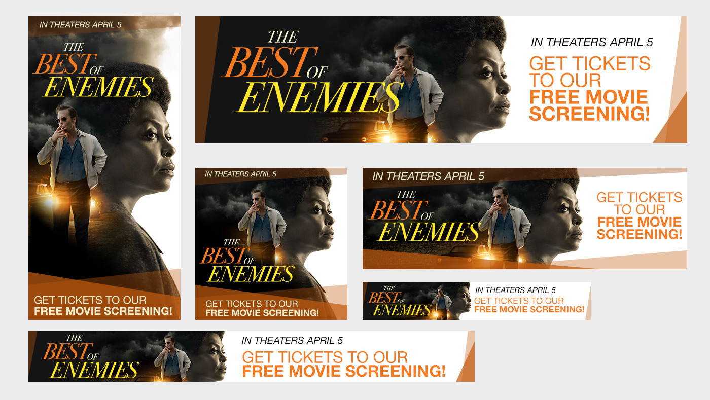 Promotional banner ad set for movie screening for The Best of Enemies featuring Academy Award winner Sam Rockwell and Academy Award nominee Taraji P. Henson.