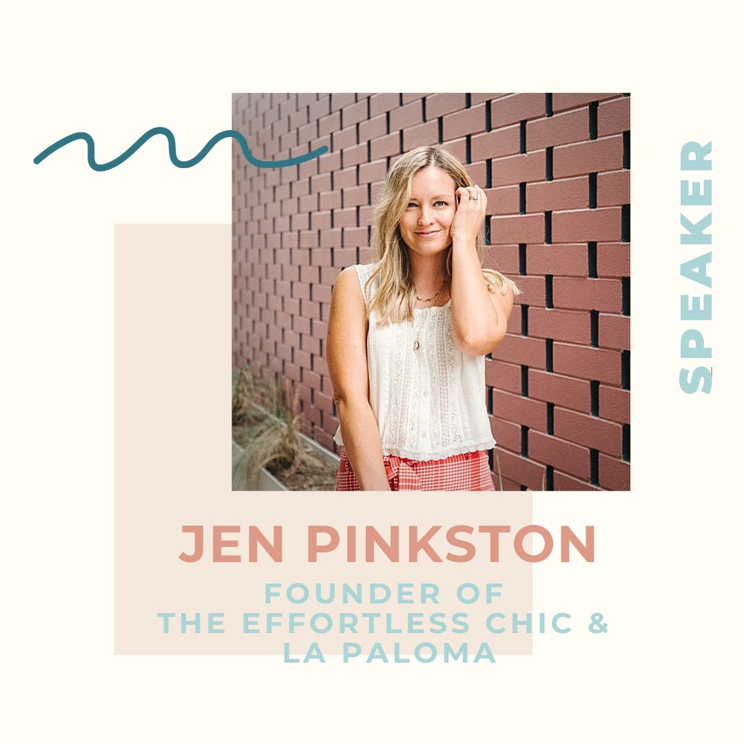 """Jen Pinkston graduated from the University of Texas in 2006 before moving to Los Angeles and getting her start in wardrobe styling. She worked as a wardrobe stylist on """"The Ellen DeGeneres Show"""" for four years before starting her freelance styling career. She worked with celebrated artists and national brands to bring their image and vision to life. In 2011, Jen started the lifestyle blog,  The Effortless Chic,  as a way to bring the effortless, everyday style that she brought to her clients to a broader audience. The site quickly grew into a full-time job, and she now, along with her team, creates thoughtful content related to design, parenting, food and style for both herself and her clients five days a week. A born-and-bred Austinite, Jen returned to Austin with her family in 2016. Her latest project, a children's lounge and sleepwear line, La Paloma, will launch in the spring of 2020."""