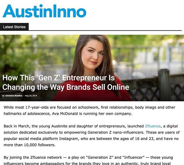 We're so excited about this wonderful feature in Austin Inno! Visit the link in our profile to read more about our founder, the story behind Zfluence, and the empowering nature of entrepreneurship. #zfluence #generationz #austininno