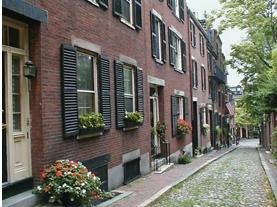A charming street in Boston's Beacon Hill neighborhood