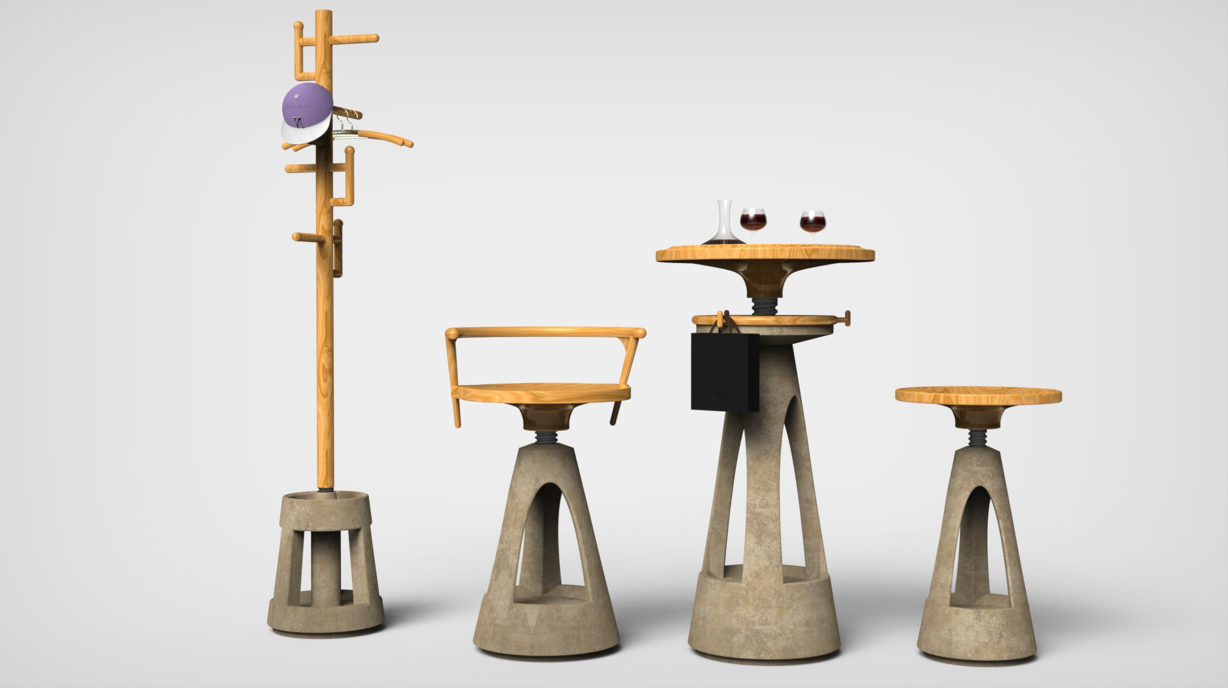 The Revolve series concrete furniture have a cloth rack with umbrella holder, two bar seats, a bar table, a ice bucket holder and a wine storage shelf.
