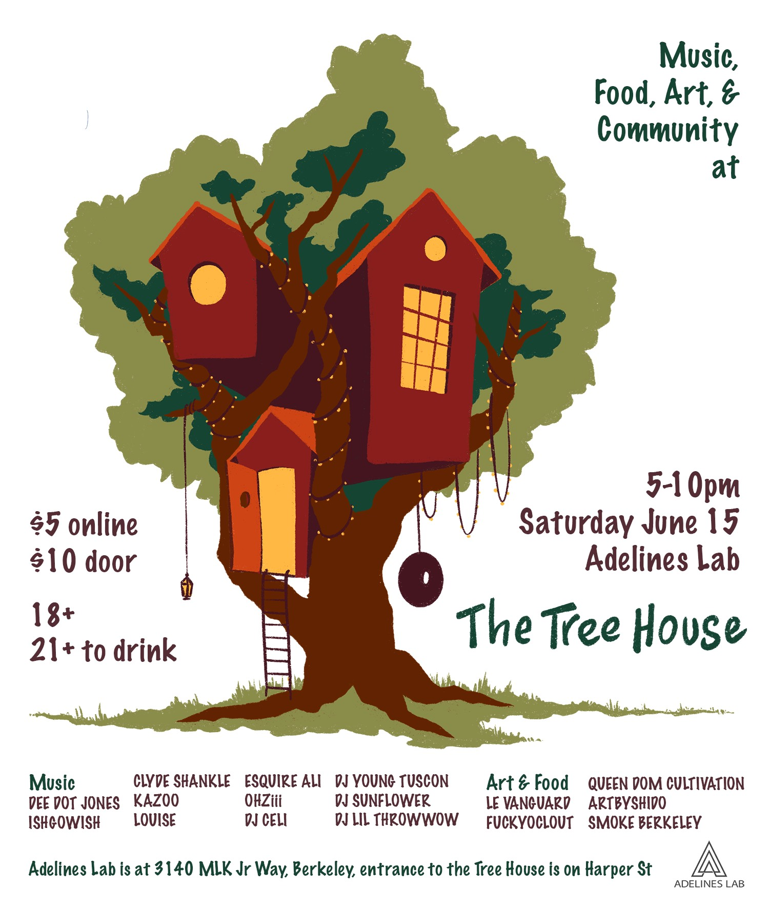 Adelines Lab Treehouse Event