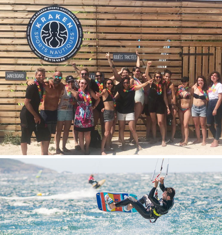 Pôle Nautique Kraken - KITE SURF YOGAGuaranteed progression at all level4 students per teacher max.Daily private coaching sessionOptimal wind window on siteWATER SPORTS YOGAGuaranteed FUN!