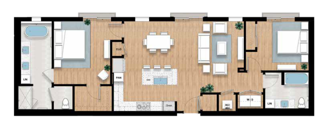 The Rosalyne - 2 bed, 2 bath | 1,314 sq.ft.