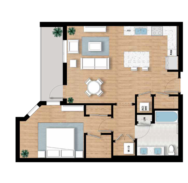 The Turner - 1 bed, 1 Bath | 994 sq.ft.