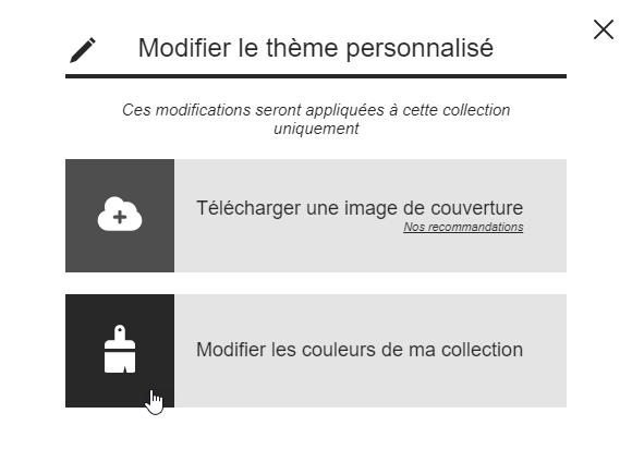 Modifier couleur barre outils collection