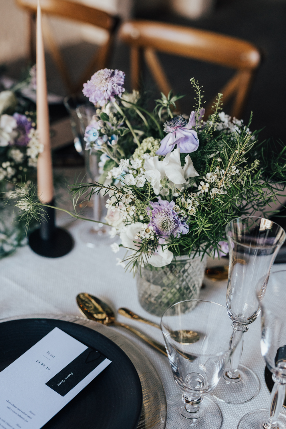 Cool, clean tablescape at Brixton industrial wedding, London