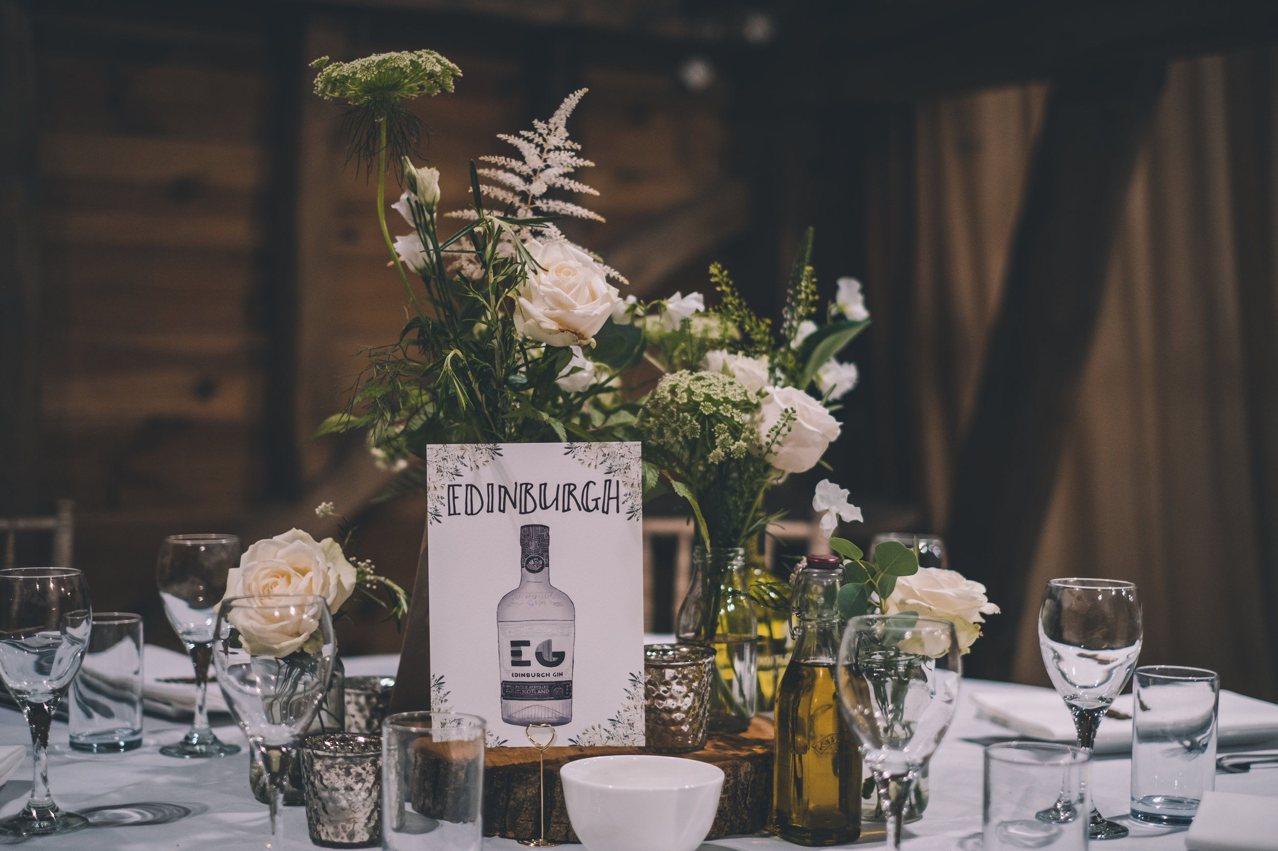 White and green wedding theme with gin bottle styling