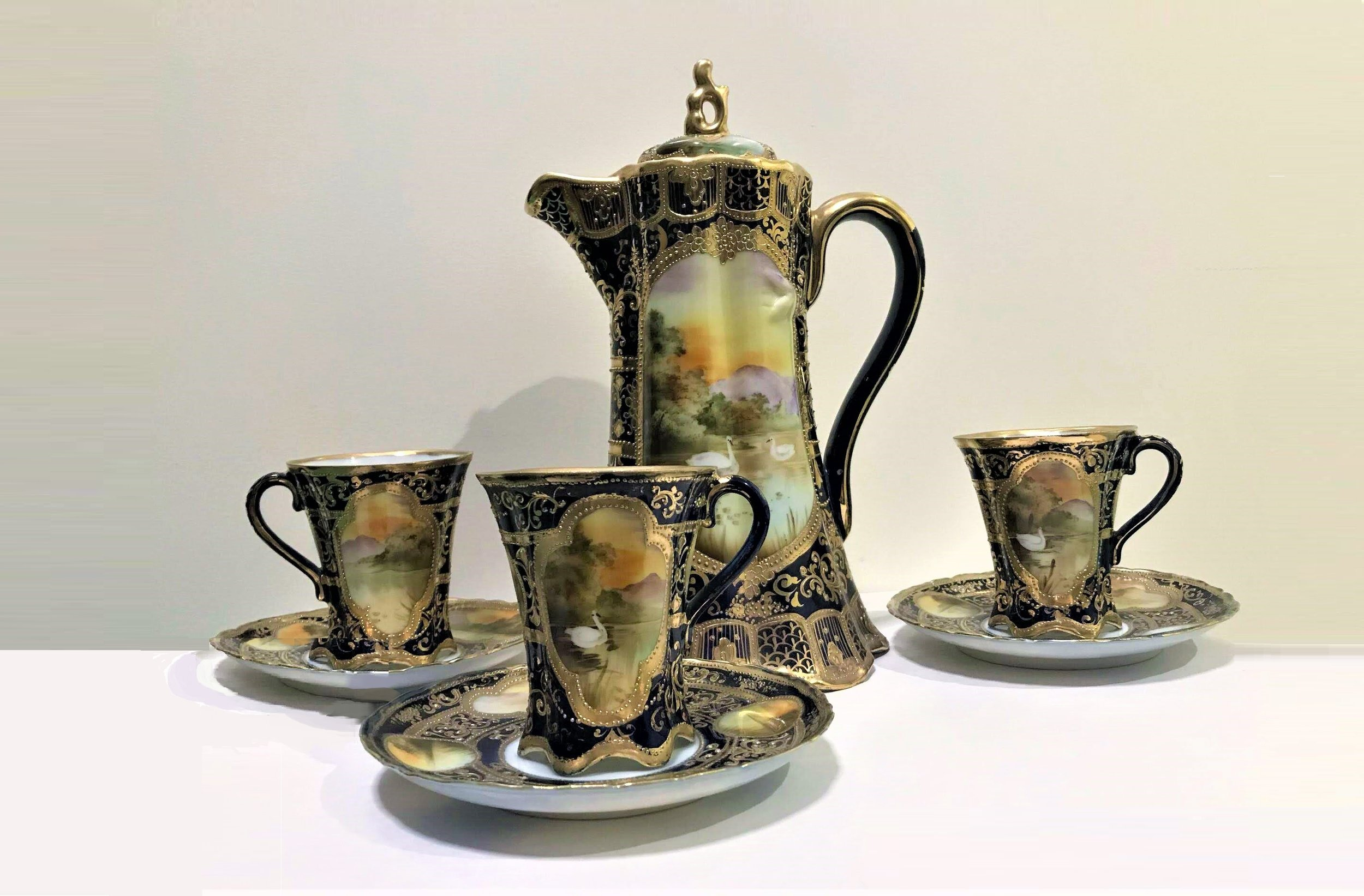 Hot Chocolate Set - Hand Painted pot with 3 cups and saucers.Priceless valueStarting bid $25