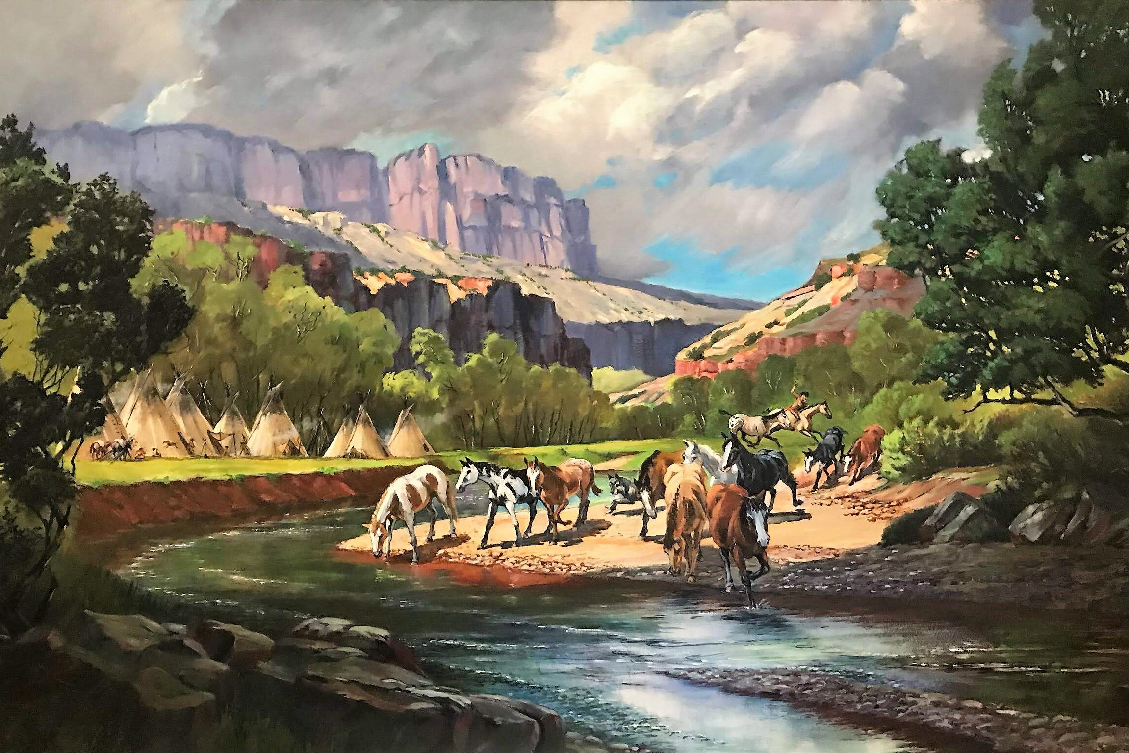 "Western Scene - Original Oil on board Painted by Raymond Newton DuShane, & 2 admission passes to The Laguna Beach Festival of ArtsSight 47.5 × 23.5""Framed 54 × 30""Starting bid $150"