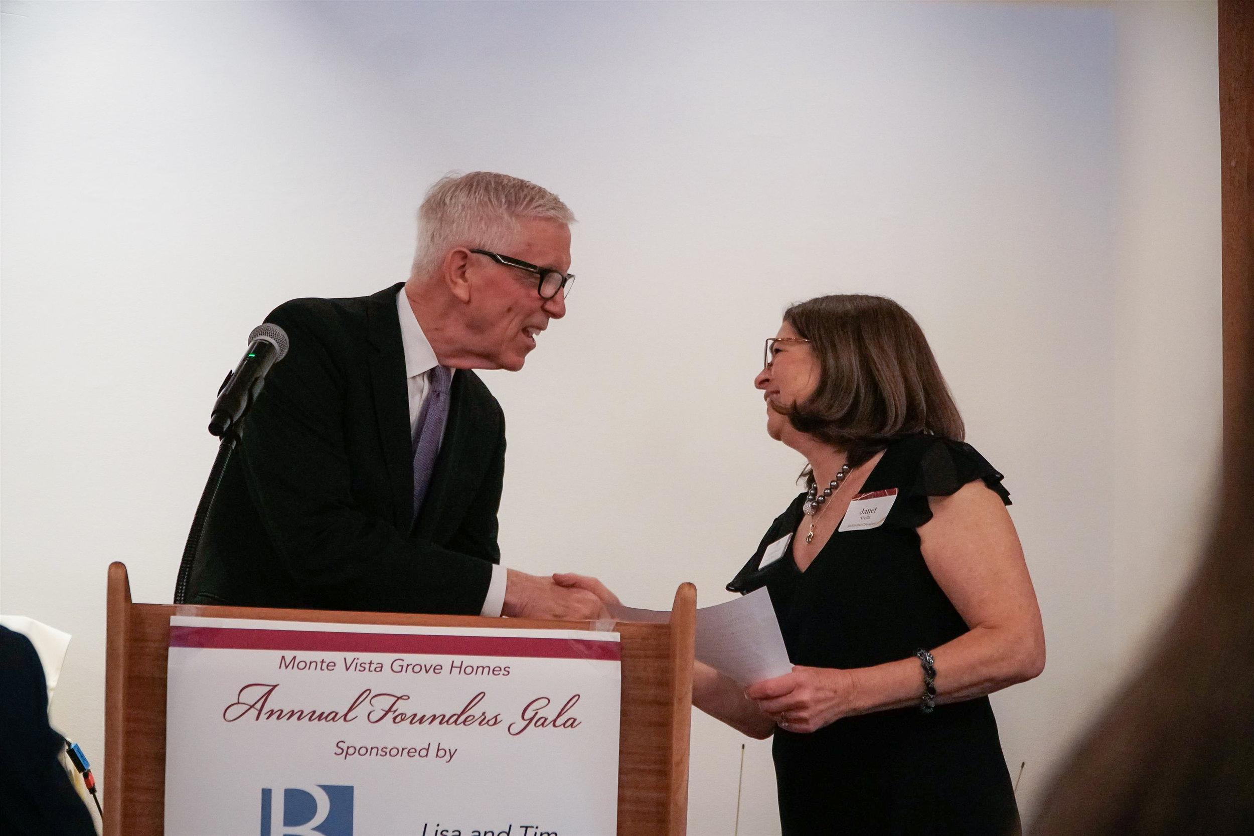 Fritz Coleman, Emcee & Janet Wells, MVGH Board President