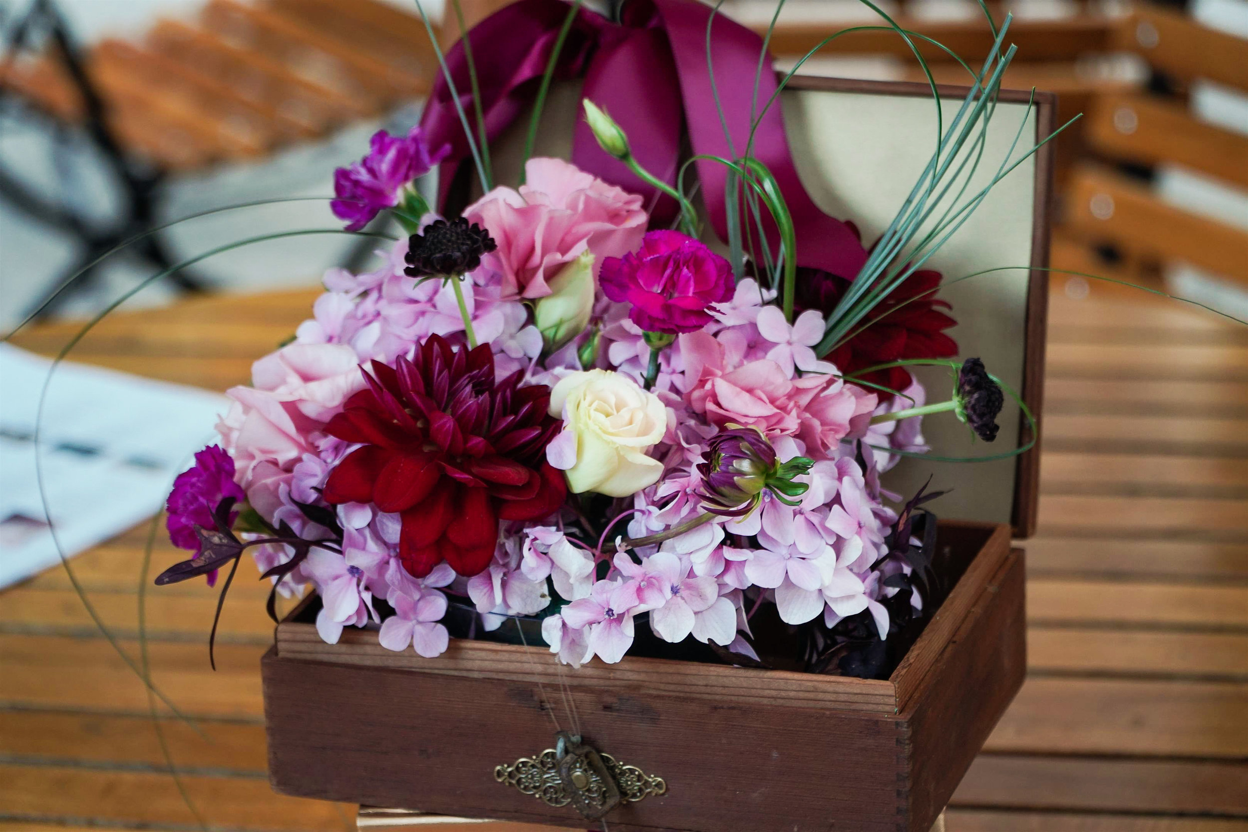 Floral arrangement in a wooden box
