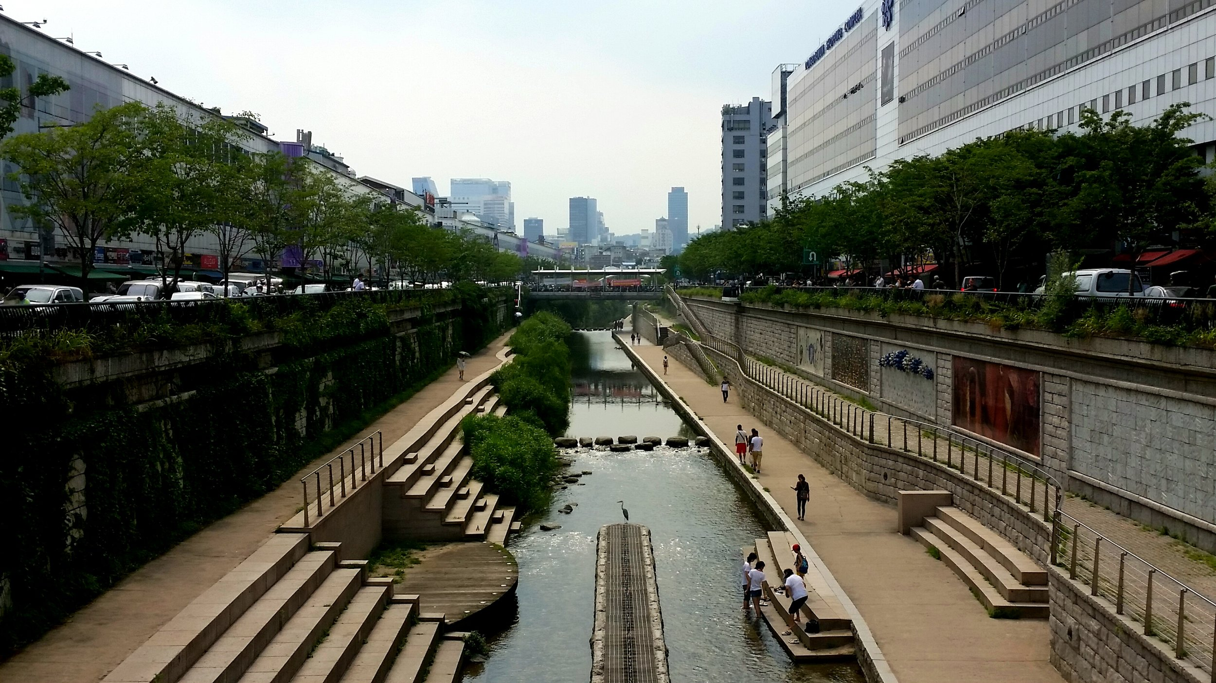 Cheonggyecheon sunken park. A bit like London's Regent's Canal, but with less discarded needles and floating plastic waste.