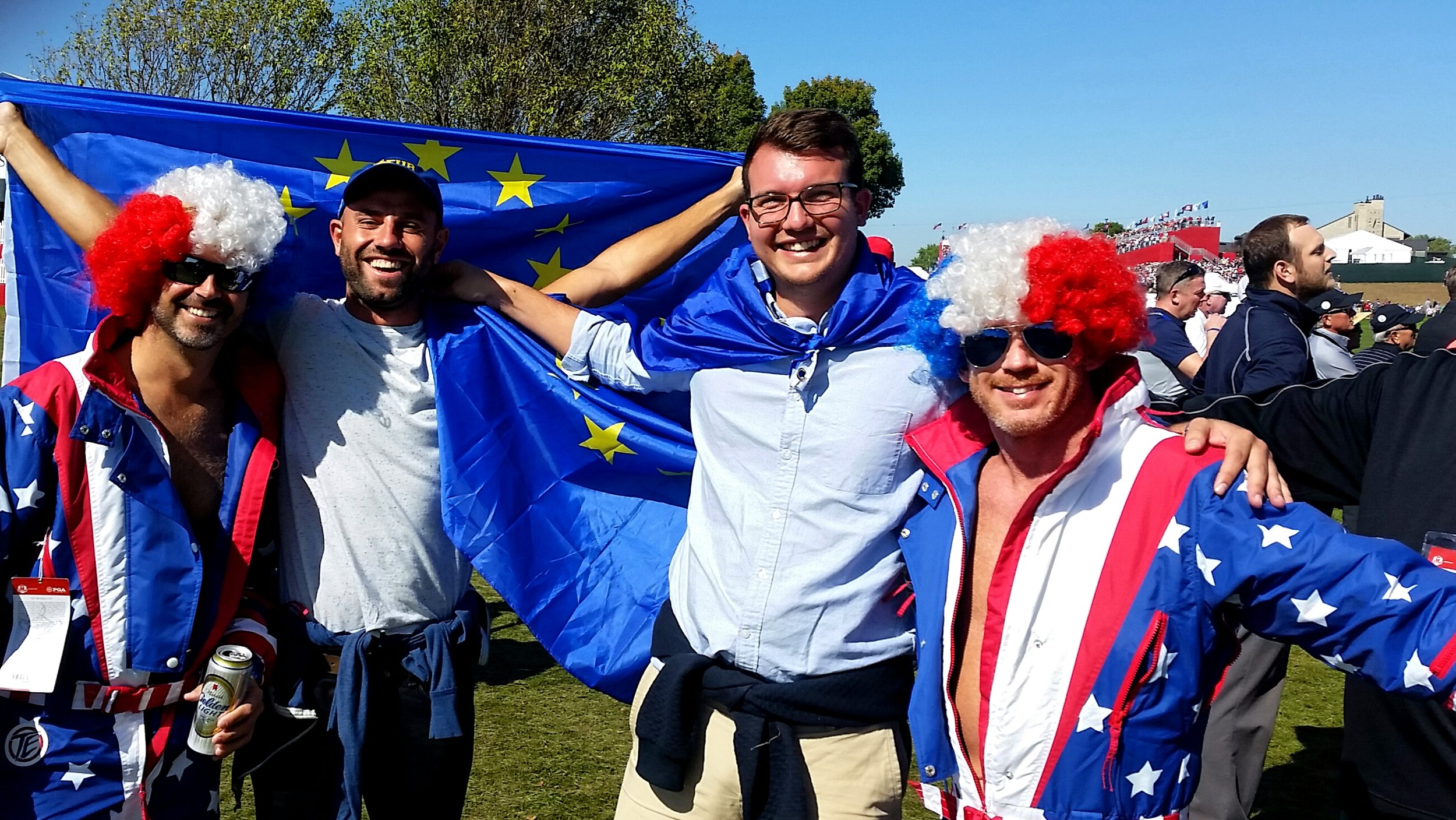 Deluded British man continues to fly European flag, patriotic Americans in a pre-Trump era.