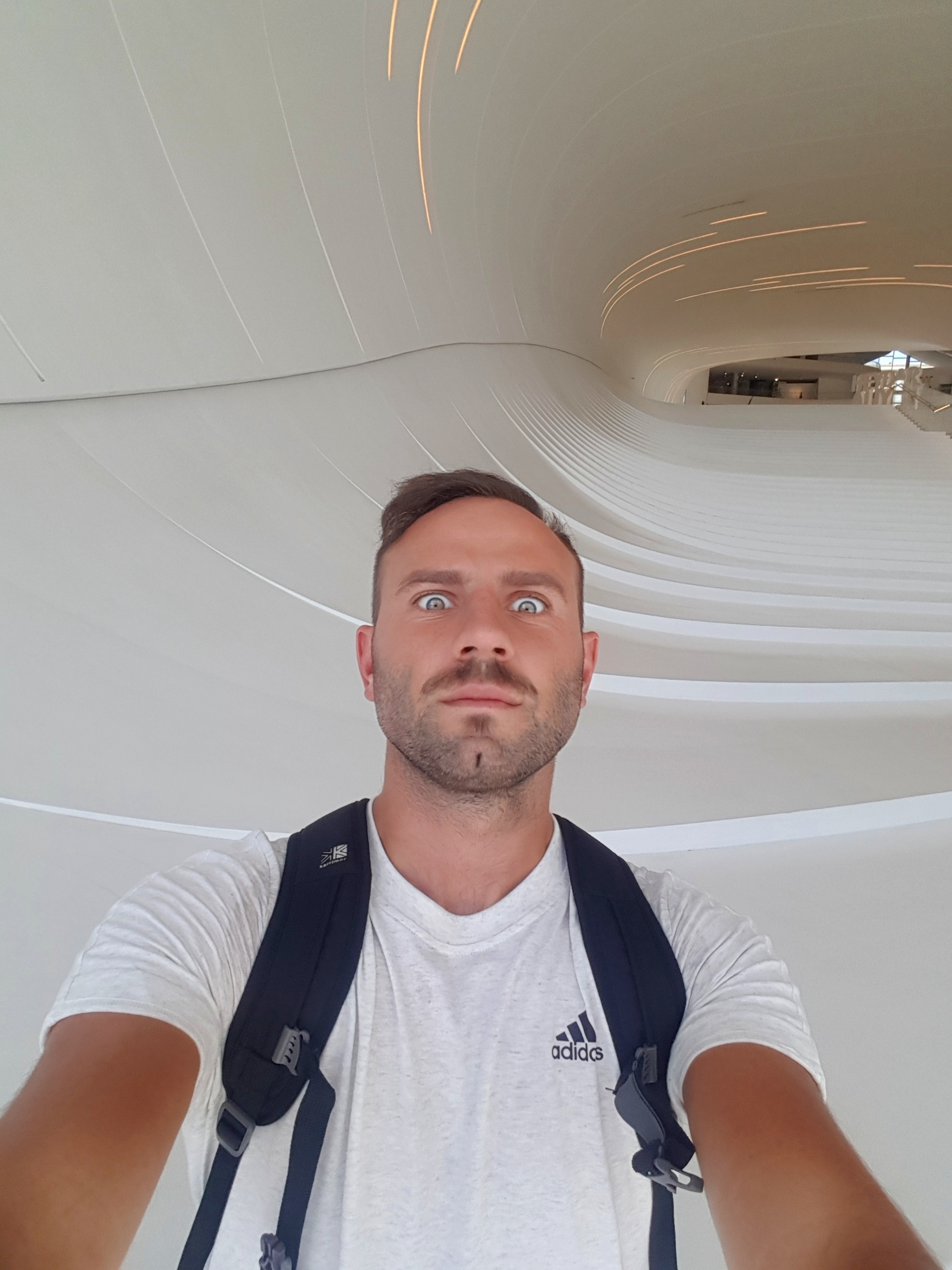 In the middle of the spaceship. My moustache is intentional. My bum chin is not.