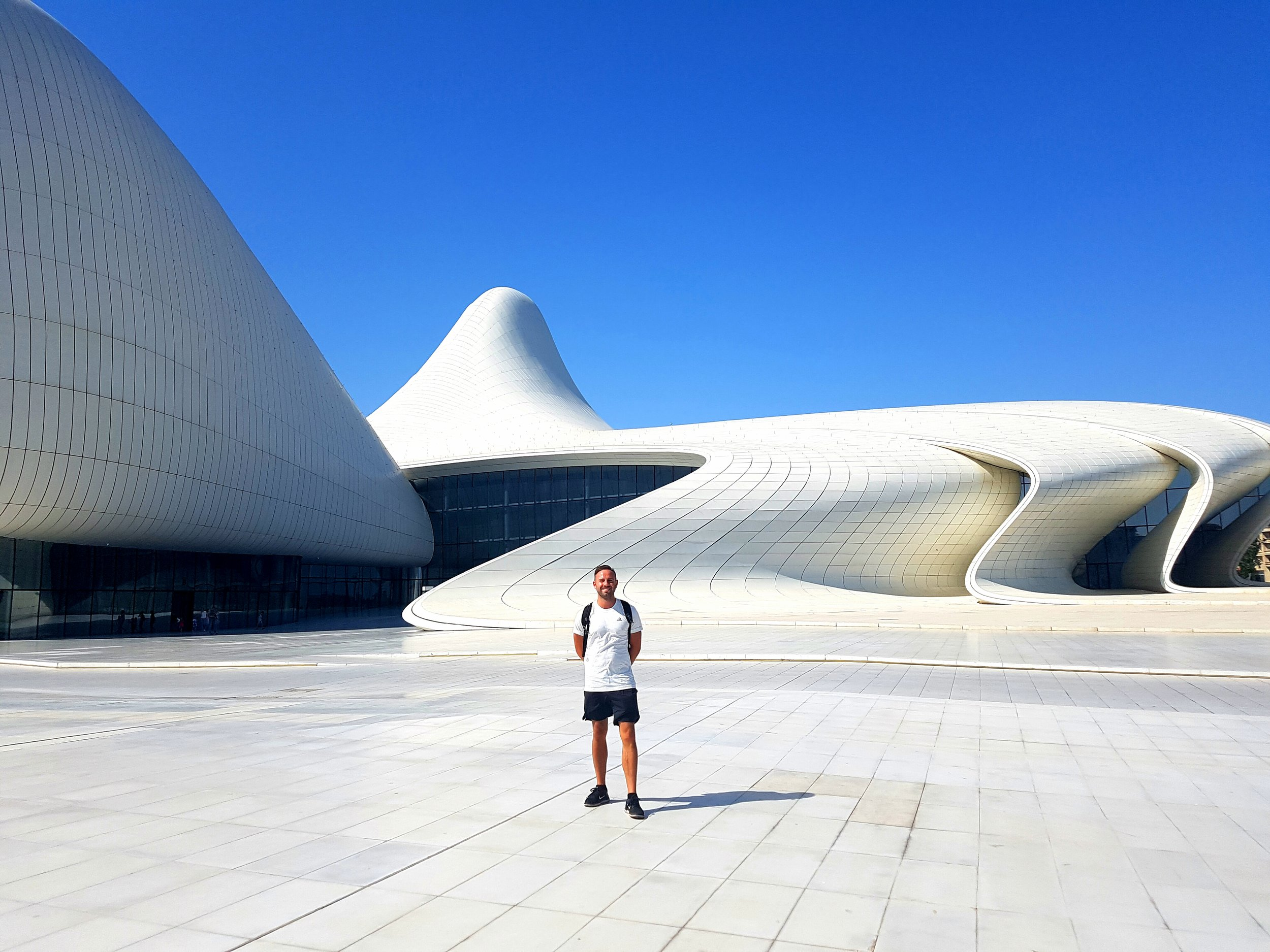 This is the best modern building in the world. My shorts are shorter than I thought.
