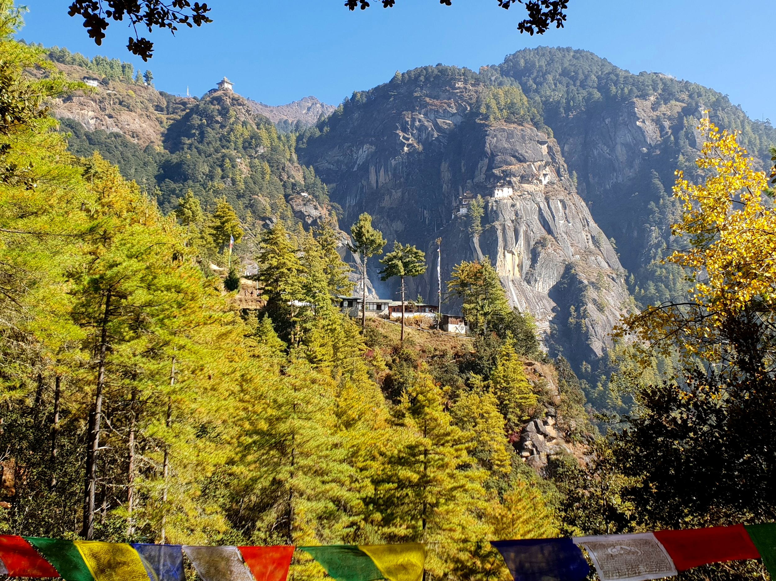 The Tiger's Nest, perched on the cliff side. Building the temple on flat land would have been too easy.
