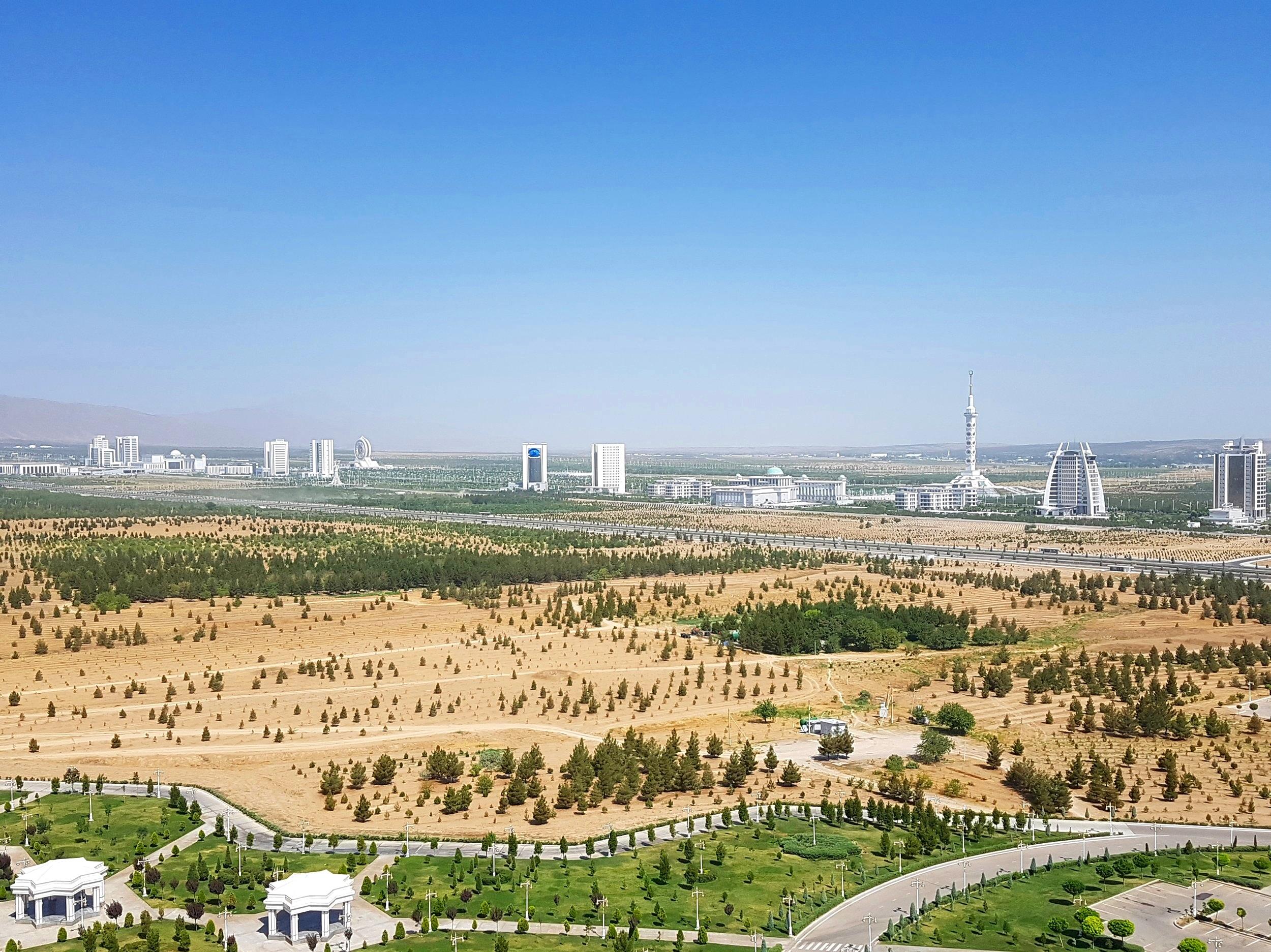 The Ashgabat 'strip', like a mini, totalitarian, Las Vegas.