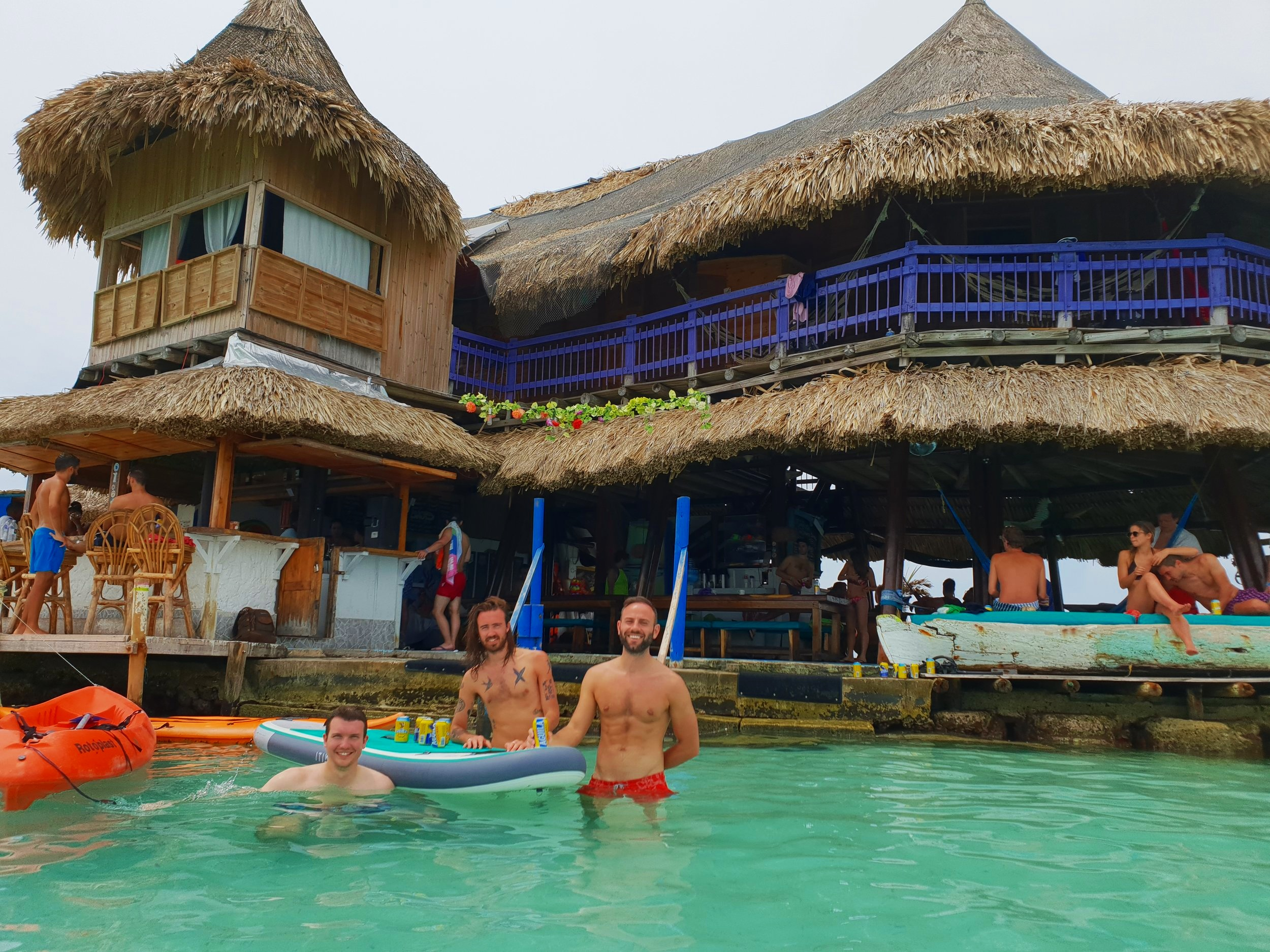 Casa en el Agua. Nice ocean views, great food…and some questionable guests? I'm talking about the previously mentioned Dutch man, despite my friends and I being the main focus of this photo. To be sure, we think we are great.