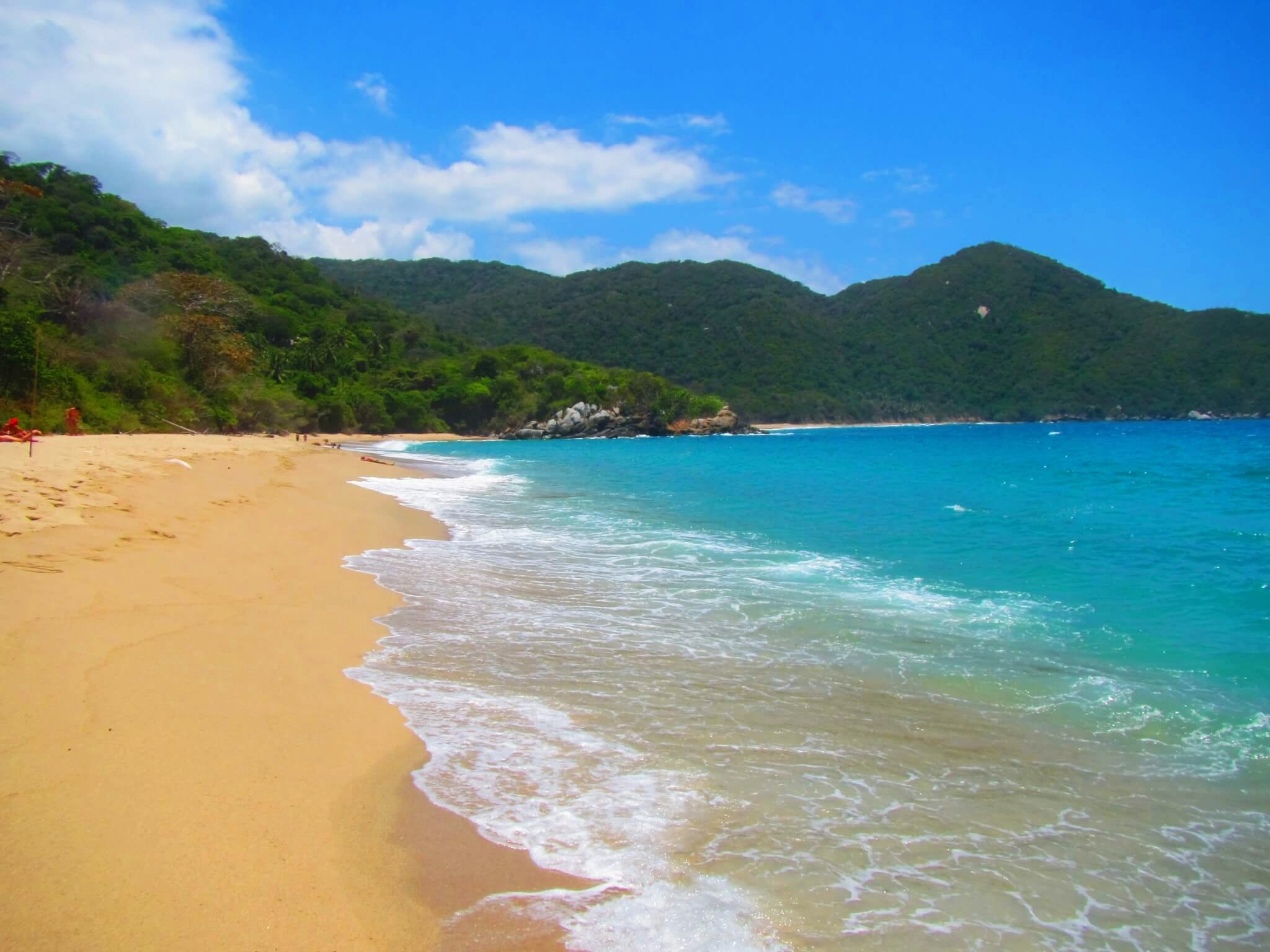 The picturesque beaches of Tayrona National Park. This is the alleged nudist part of the beach.
