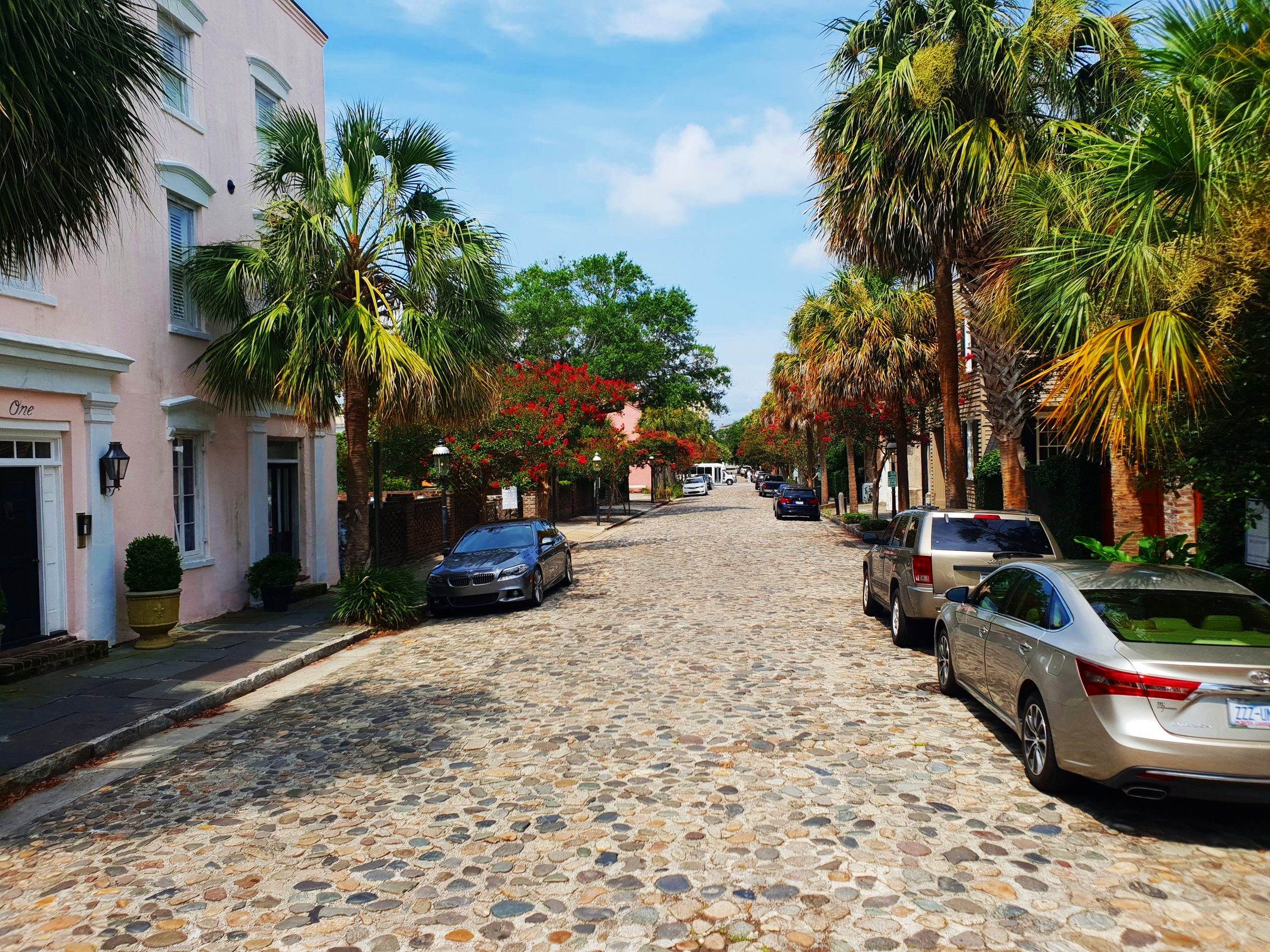 Cobbled streets are common in Charleston. These stones came all the way from Newcastle, England.
