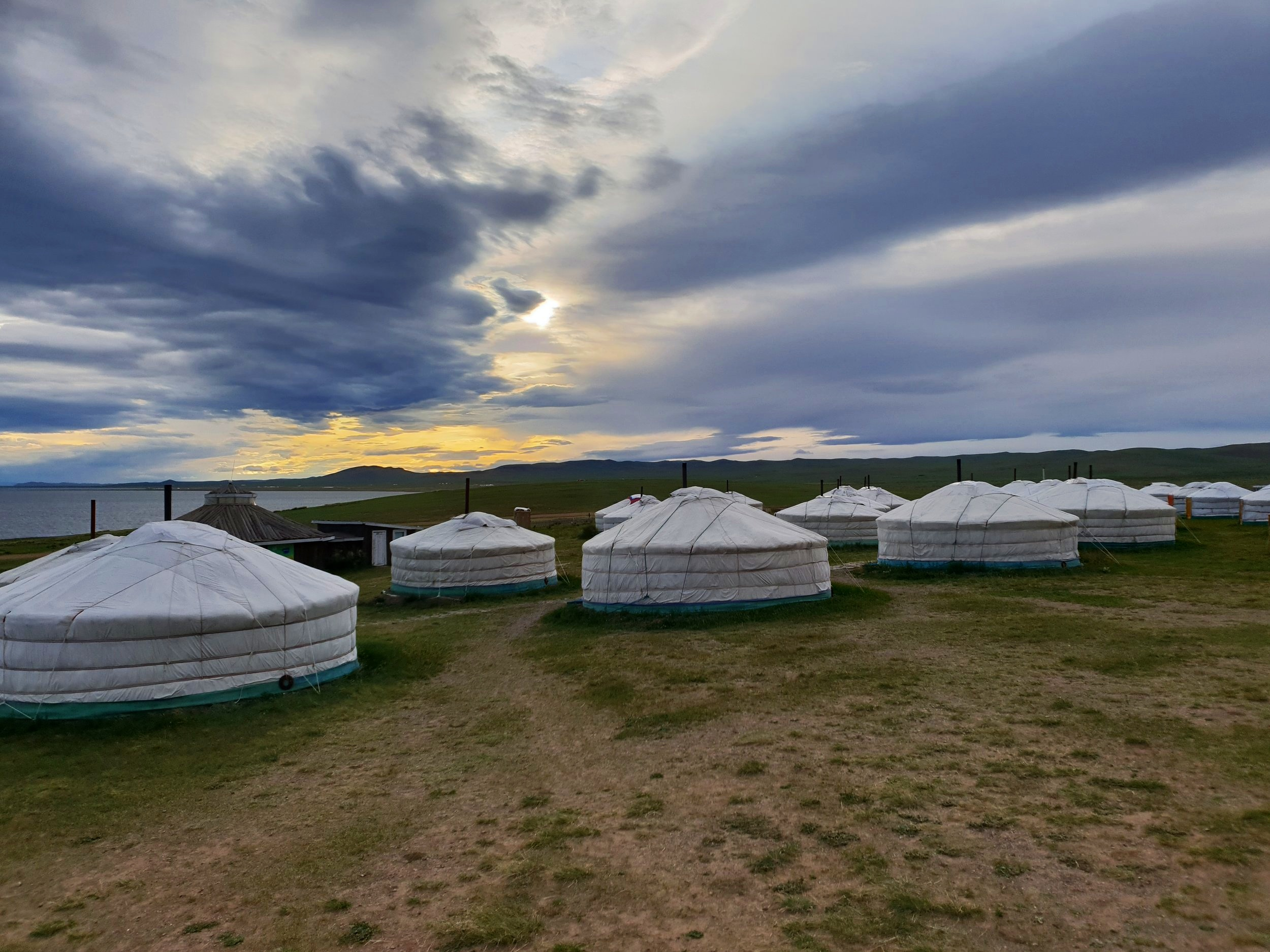 A Mongolian ger camp. Despite being generously proportioned, you will spend half the night boiling (when the stove is going) and the other half freezing (when it goes out).