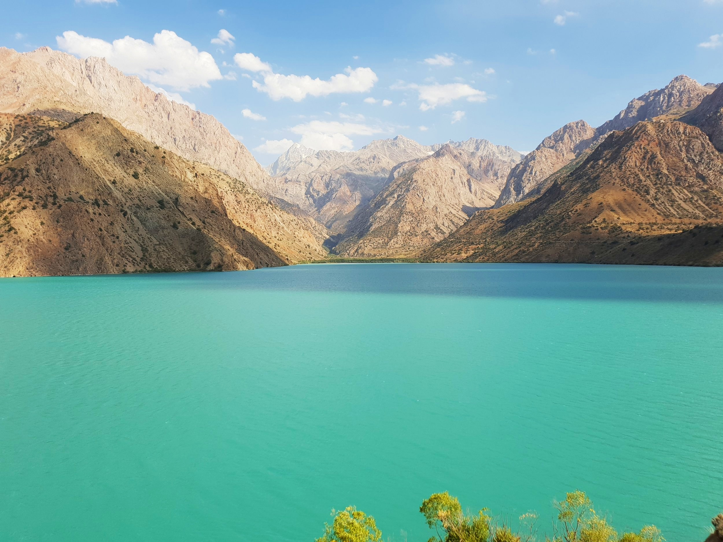 Iskanderkul lake. While it looks inviting, the lake is this colour as it is fed into directly by glaciers.