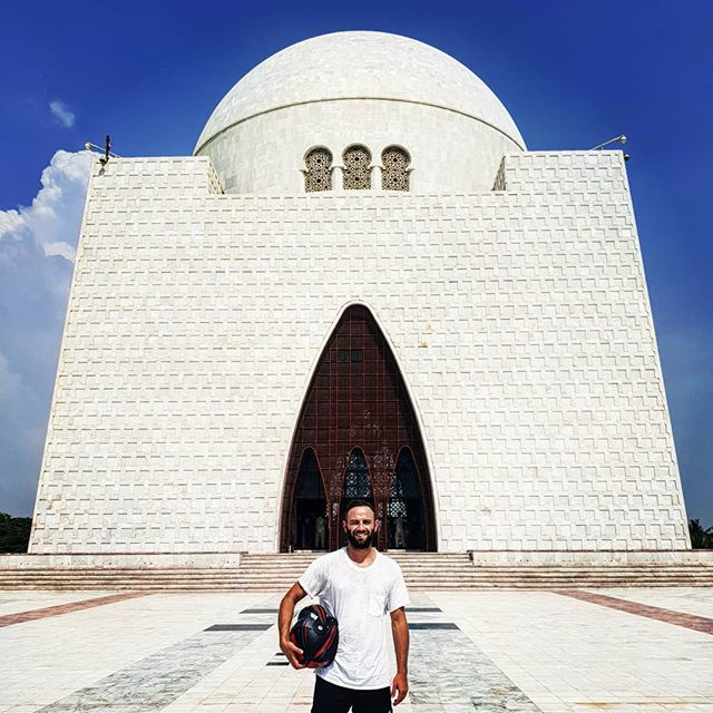 """Country 139 - Pakistan. Mazar-e-Quaid, also known asJinnah Mausoleumor theNational Mausoleum, is the final resting place ofQuaid-e-Azam(""""Great Leader"""")Muhammad Ali Jinnah, the founder ofPakistan. Despite its appearance, it was only finished in 1970. It's mandatory to carry a motorbike helmet with you if you visit. . . . #chasing193 #travelerscenturyclub #thetravellingape #dailywanderlust #wanderlustdaily #chasing195 #travelsolo #everycountryintheworlrd #digitalmomad #travel #picoftheday #instapassport #themoreyouknow #everycountry #roamtheplanet #letsgosomewhere #neverstopexploring #exploretheworld #pakistan #travelpakistan #karachi #travelkarachi #jinnah"""