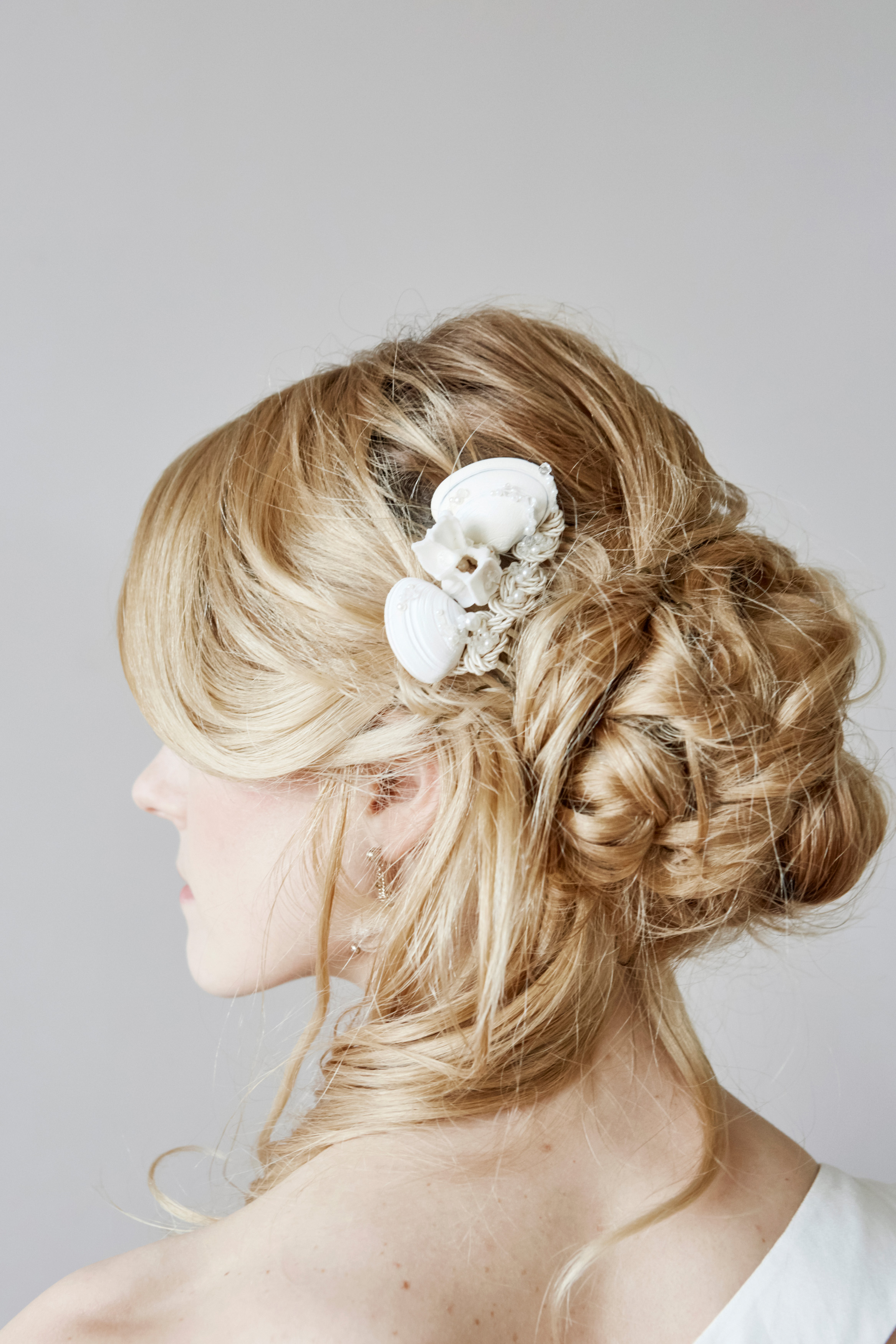bridal hair comb made from shells by j&t accessories, french normandy wedding