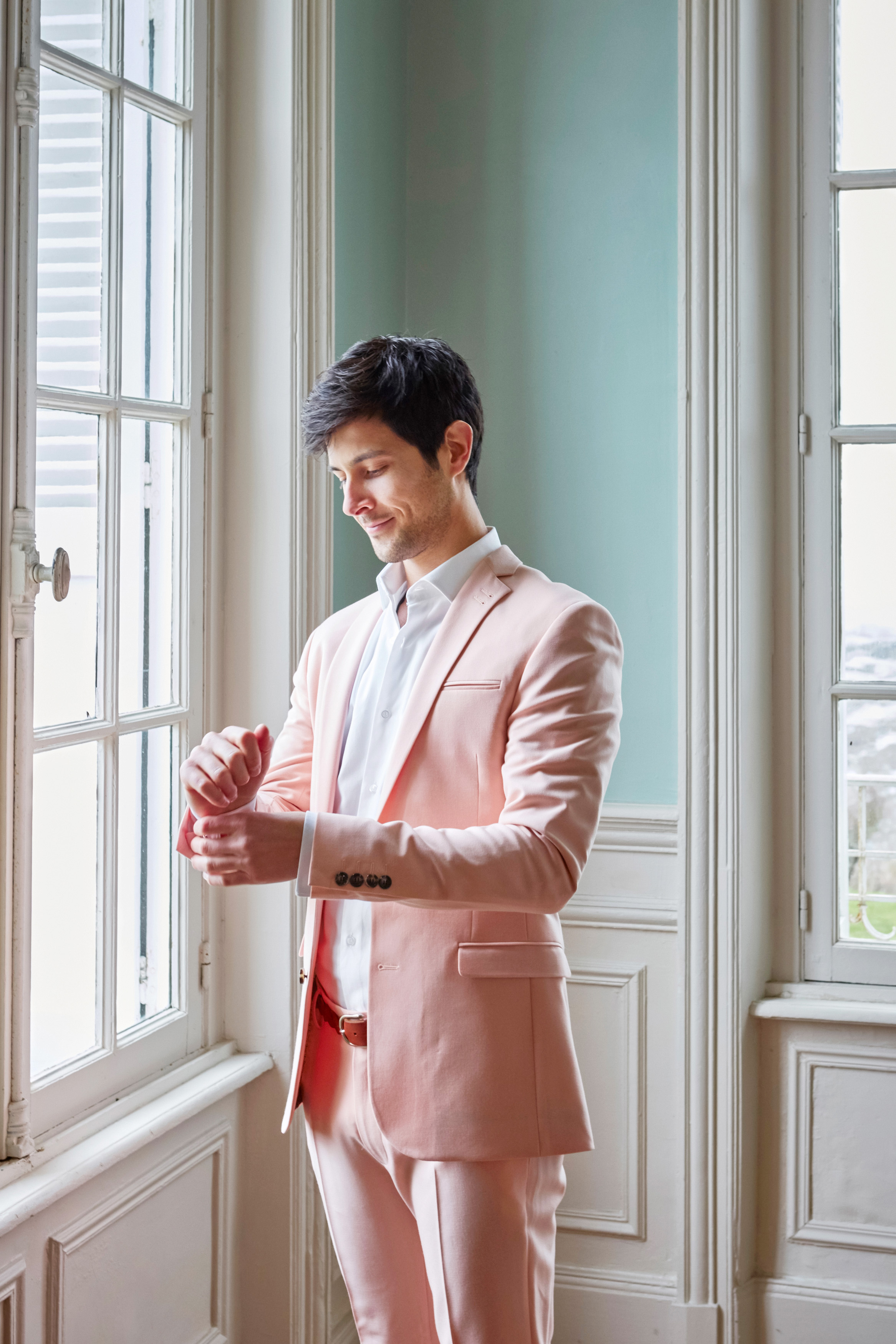 pink suit groom, french normandy wedding