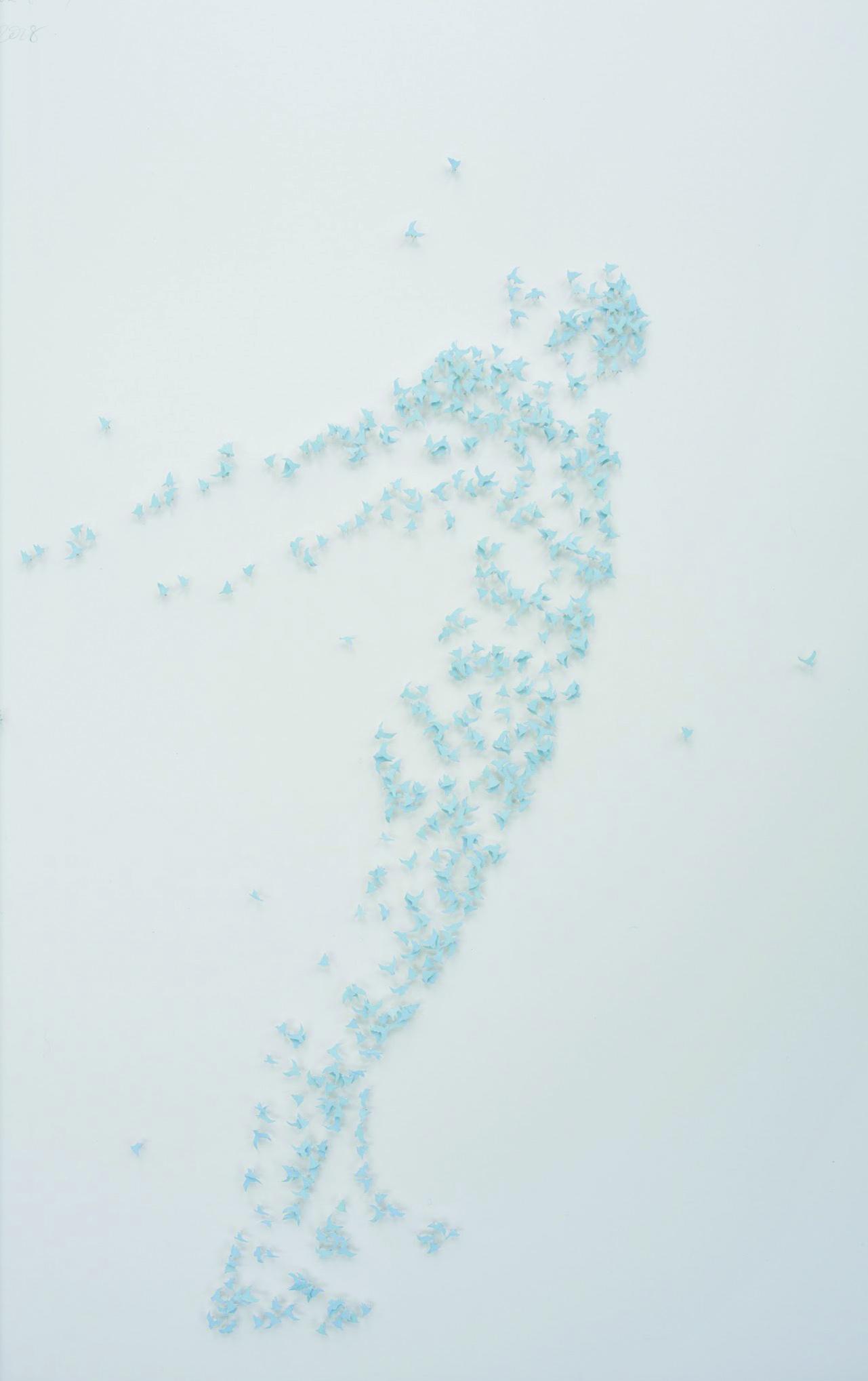Act of Union (Fresh Blue)  67cm x 87cm Foamcore, spray paint, watercolour paper, pins