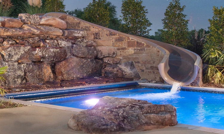 Slides - We can offer several different slide options on our swimming pools ranging from the 4 foot tall Cyclone to the Turbo Twister that stands an impressive 8 feet. You can browse our entire slide collection here.