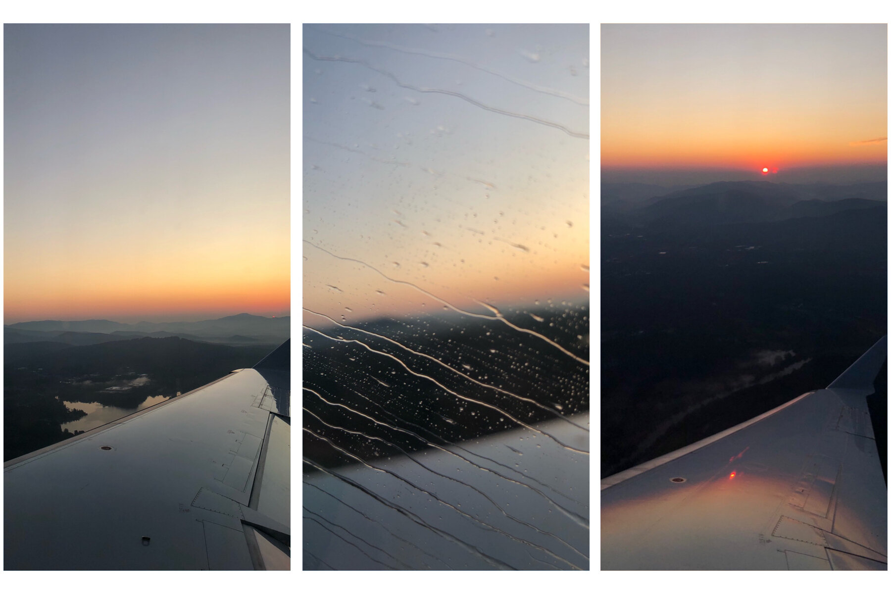 Our early morning flight allowed us to see the sun rise over the mountains.