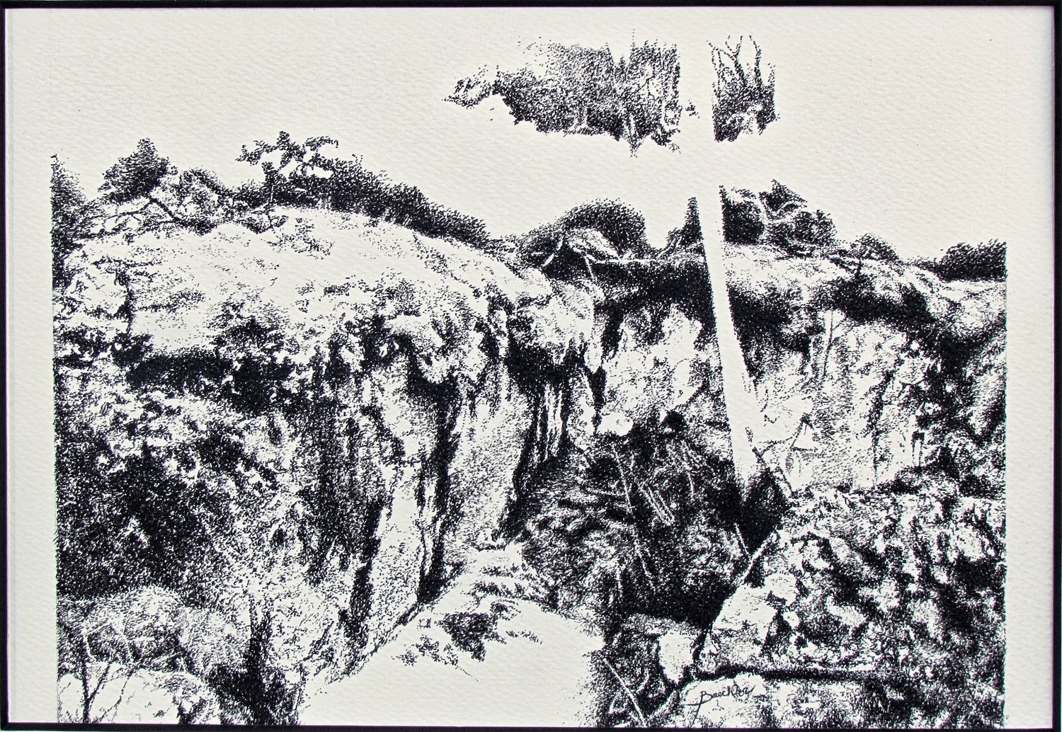 Site 1 / Burial  2017  ink on paper  12 X 7 inches    Enquiry