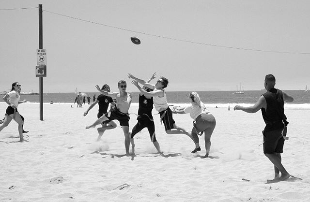 """PLAYOFFS!? we're talking about PLAYOFFS!?"" -Jim Mora  #themmntm #playoffs #venicebeach #suddendeath #championship #flagfootball #football #superbowl"